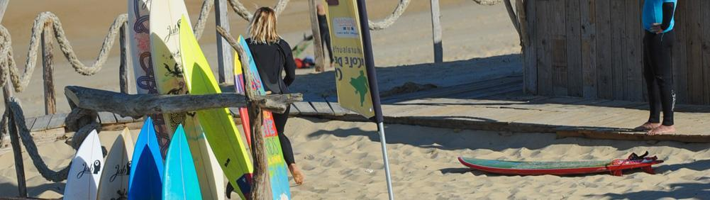 A wide choice of surf boards to hire with Natural Surf Lodge